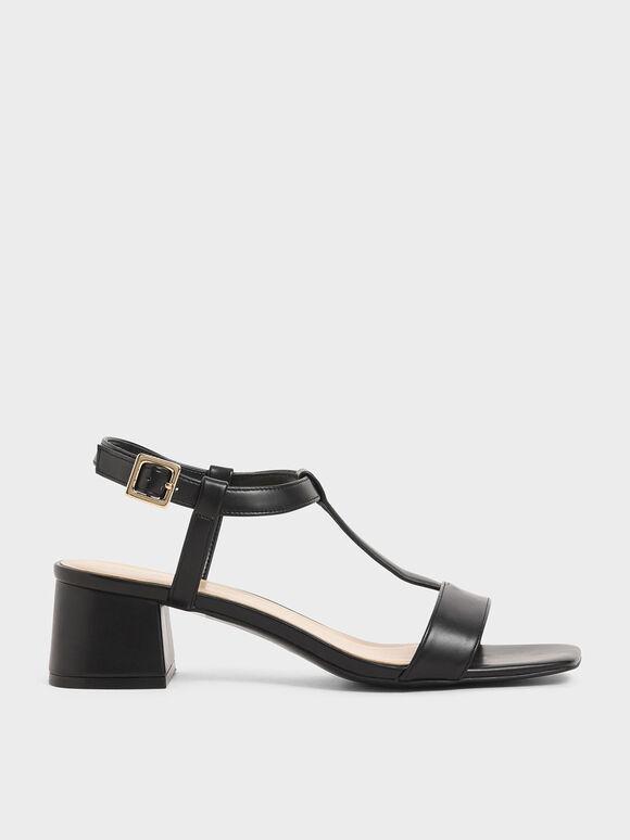 T-Bar Block Heel Sandals, Black, hi-res