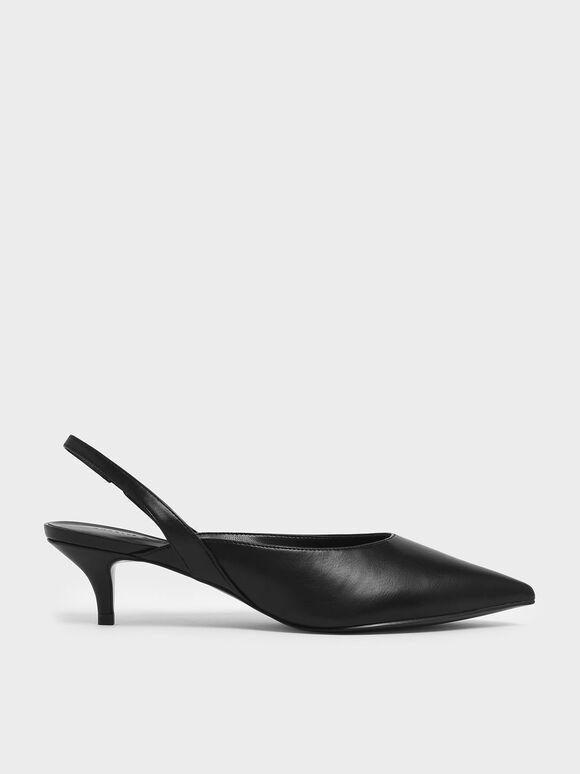 Pointed Toe Slingback Kitten Heels, Black, hi-res