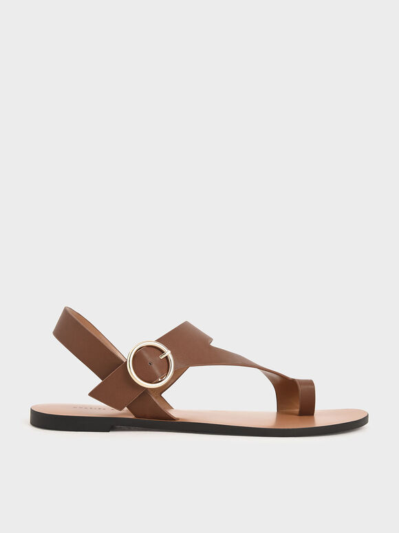 Toe Loop Asymmetric Strap Flats, Brown, hi-res