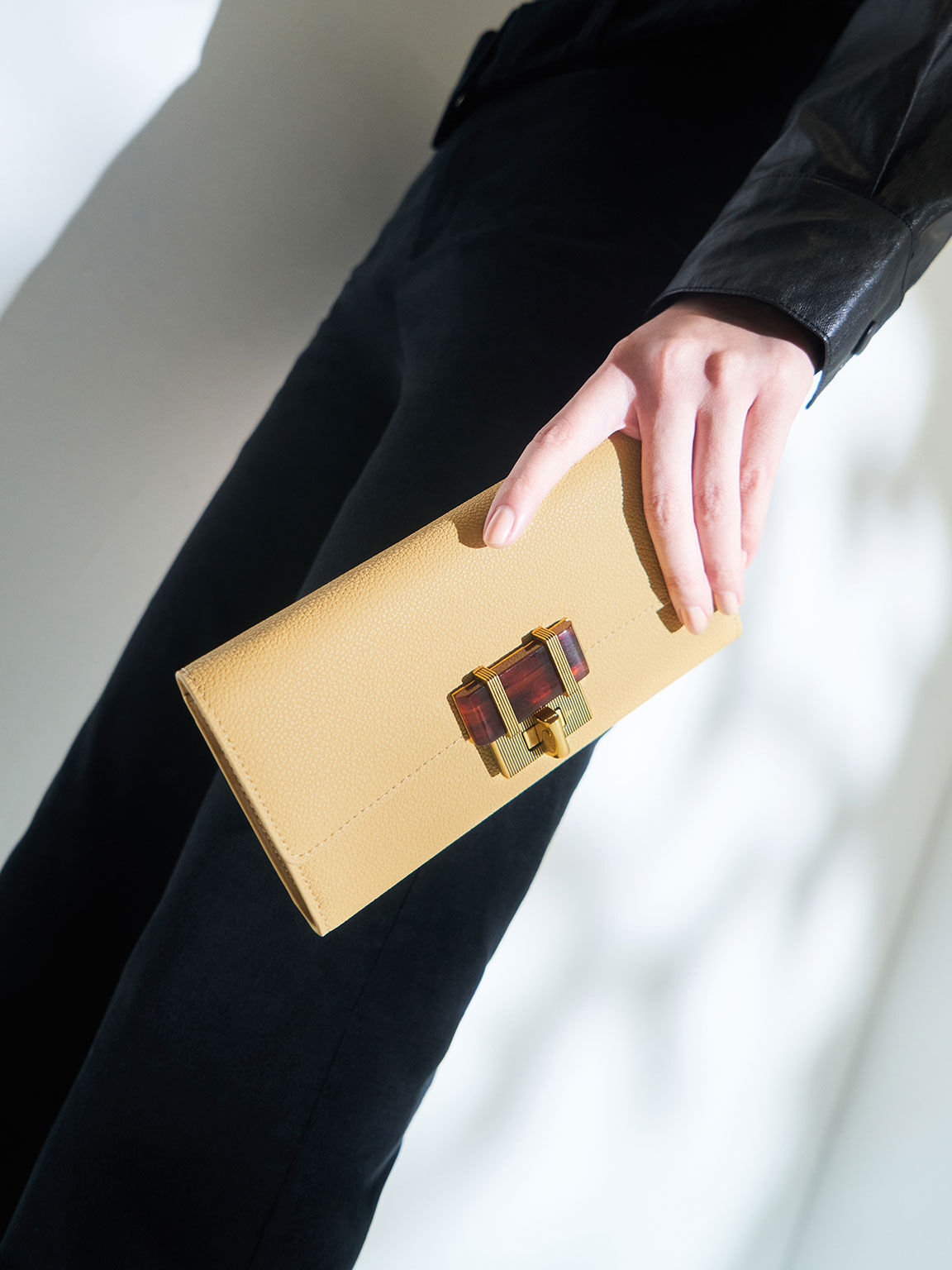 Stone-Embellished Long Wallet, Yellow, hi-res