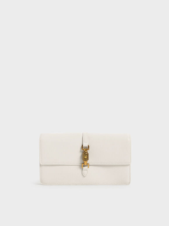 Front Flap Push-Lock Long Wallet, Cream, hi-res