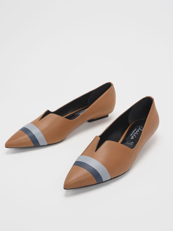 Striped Leather Ballerina Flats, Caramel