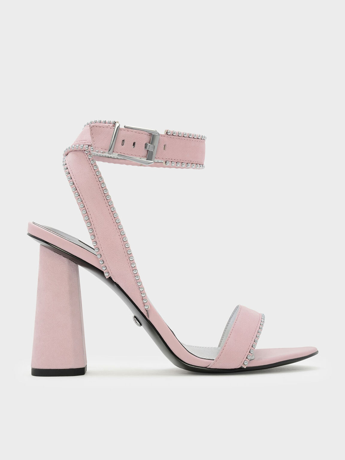 Bead Detail Leather Sandals, Pink, hi-res