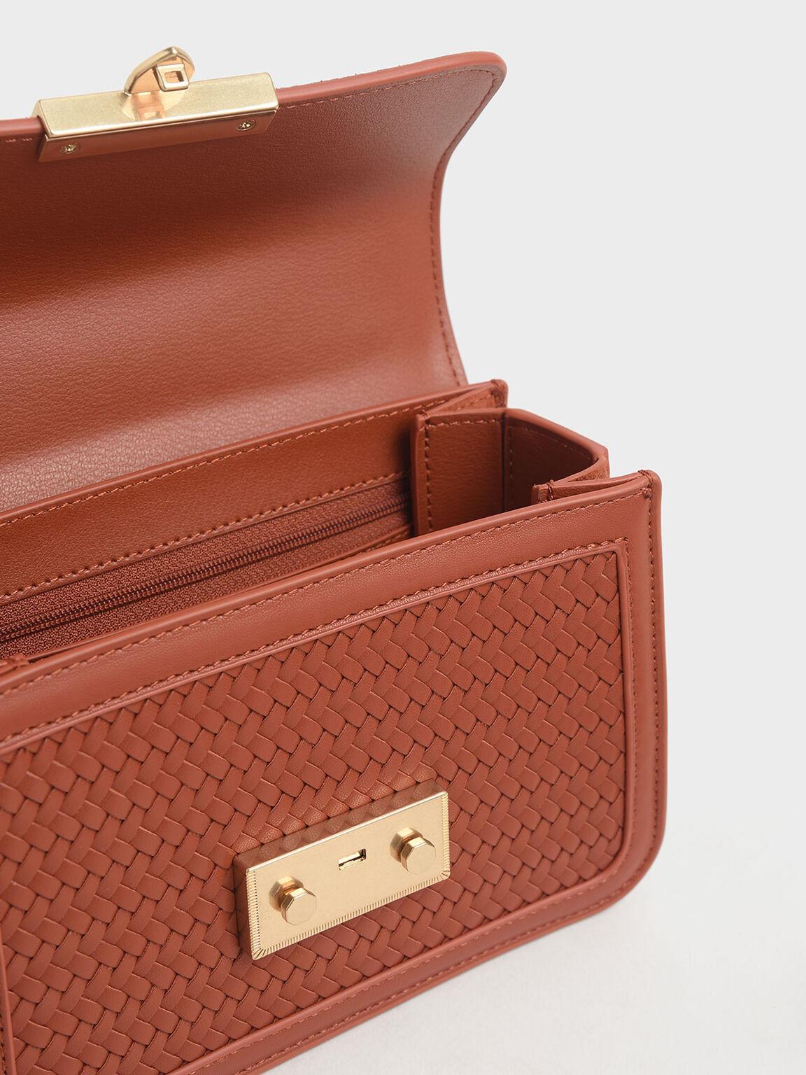 Woven Boxy Chain Strap Bag, Cognac, hi-res