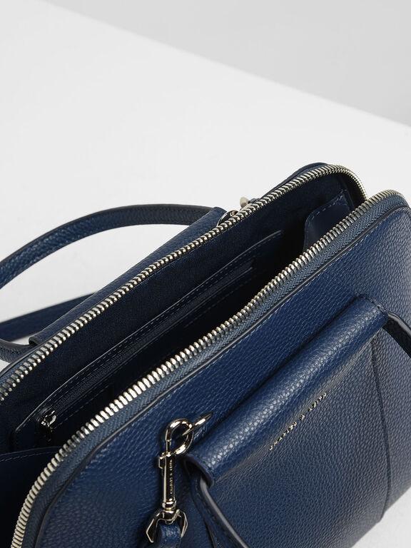 Ring Handle Dome Bag, Dark Blue, hi-res