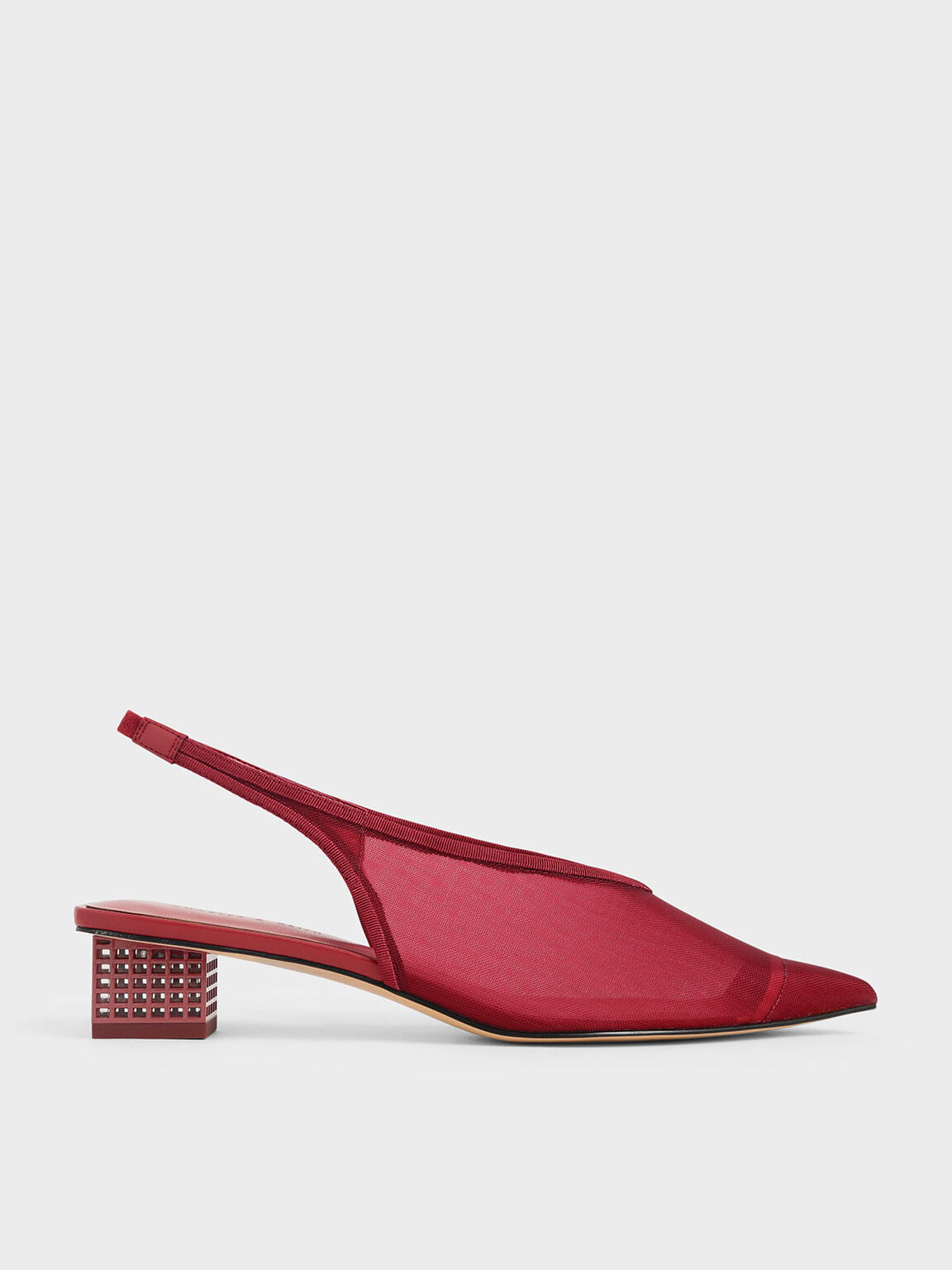 網紗尖頭粗跟鞋, 紅色, hi-res