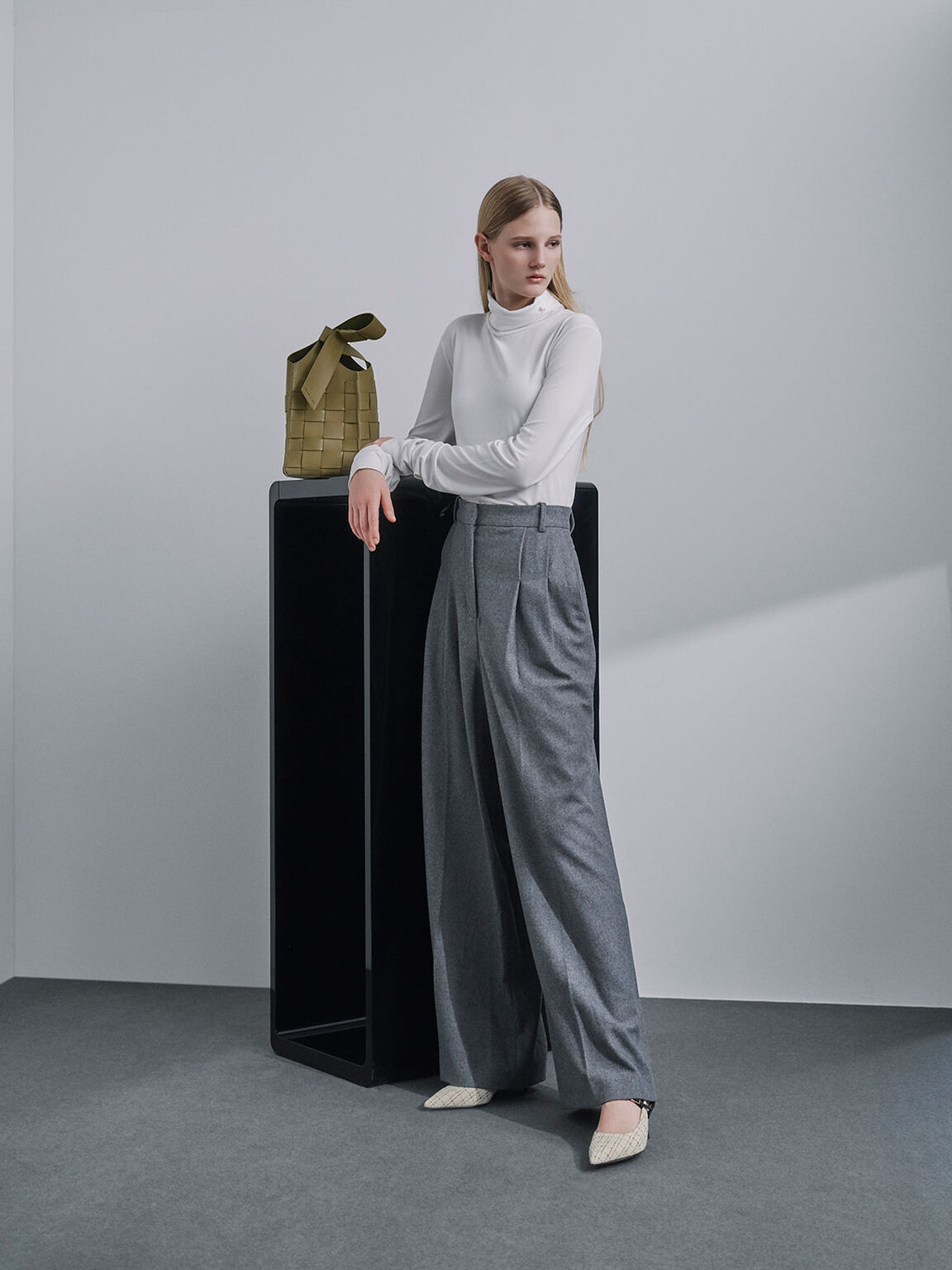 Tweed & Leather Slingback Pumps, Cream, hi-res