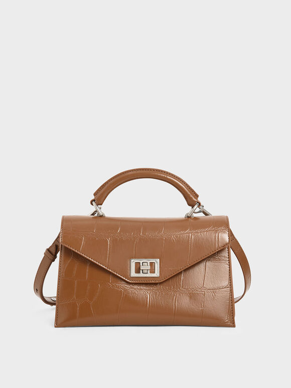 Croc-Effect Turn-Lock Top Handle Bag, Cognac, hi-res