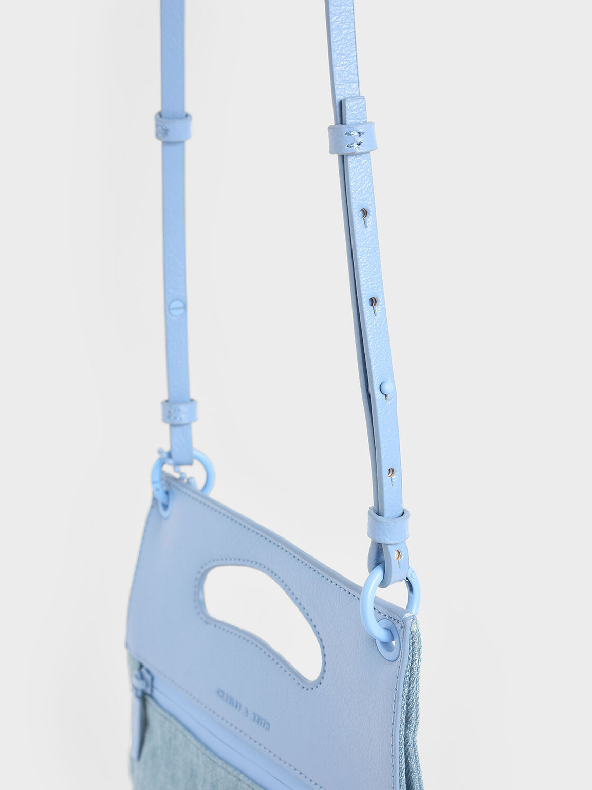 Textured Crumpled-Effect Top Handle Clutch, Denim Blue, hi-res