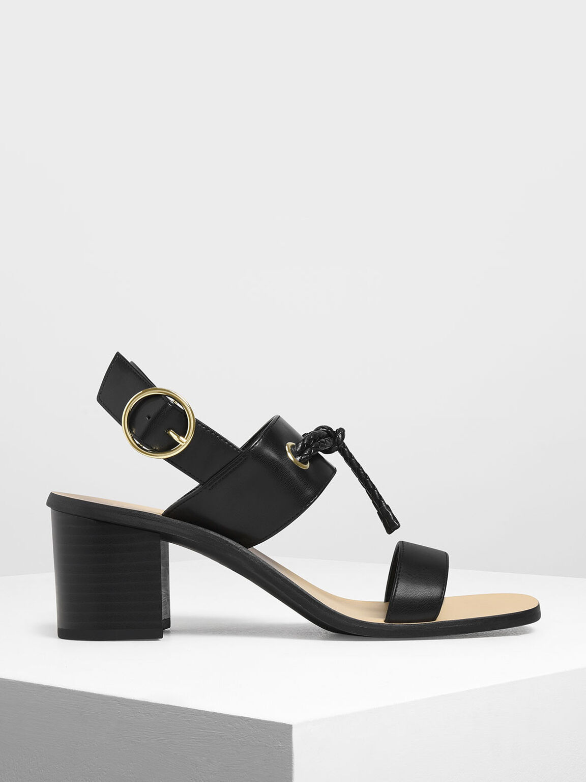 Braided Knot Block Heel Sandals, Black, hi-res