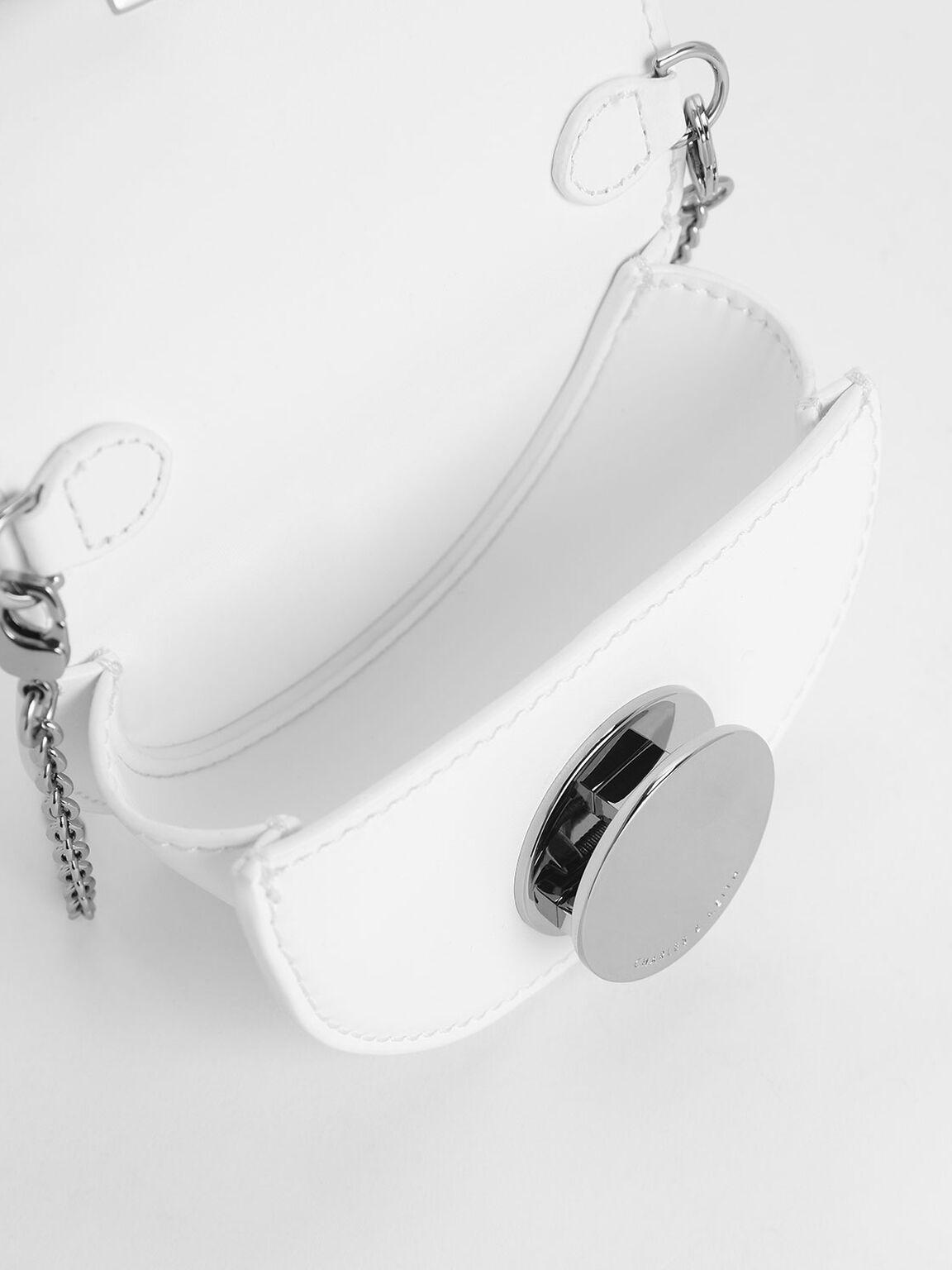 Circular Push Lock Saddle Pouch, White, hi-res