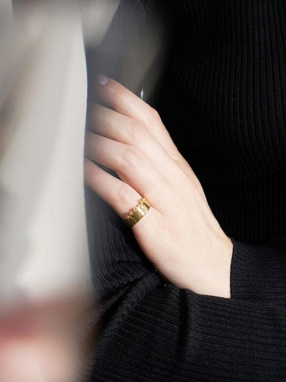 施華洛世奇®水晶鑲嵌寬戒, 金色, hi-res