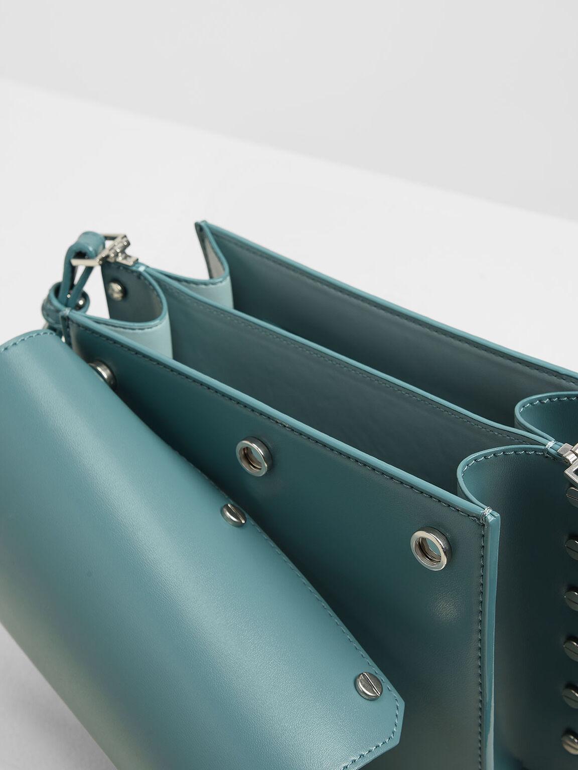 Reversible Flap Crossbody Bag, Teal, hi-res