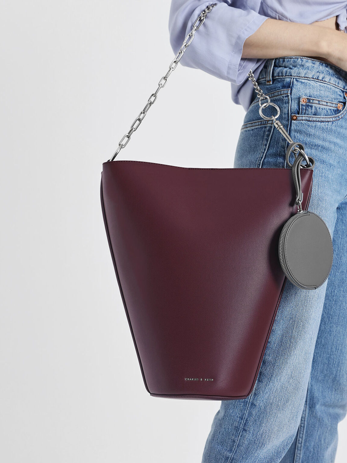 Slanted Bucket Bag, Prune, hi-res
