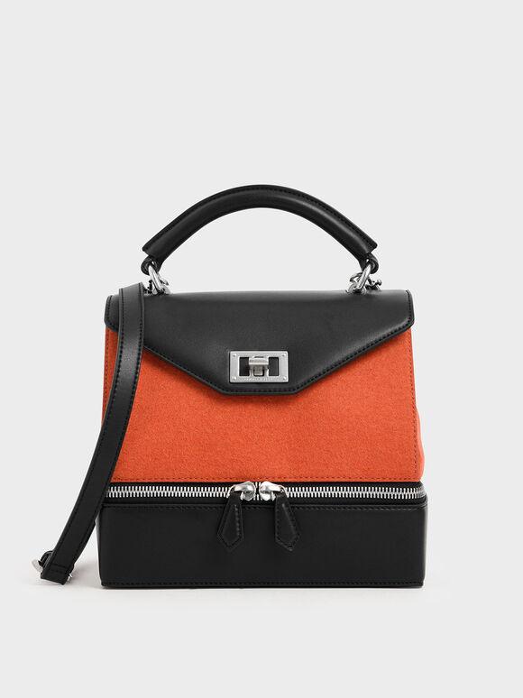 Two-Way Zip Top Handle Bag, Orange, hi-res