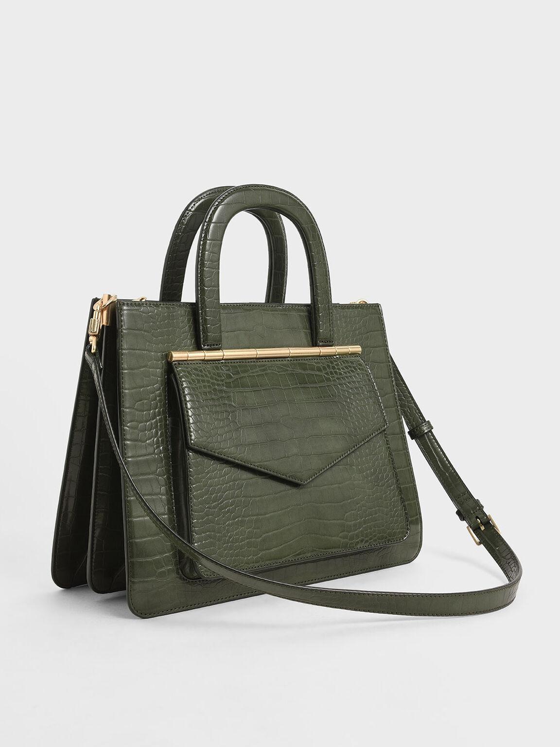 Croc-Effect Structured Tote Bag, Olive, hi-res