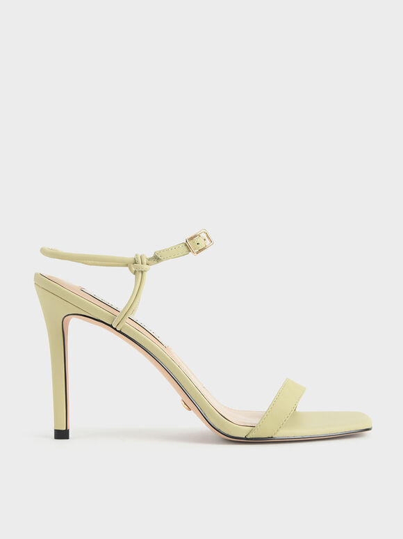 Leather Knotted Heeled Sandals, Green, hi-res