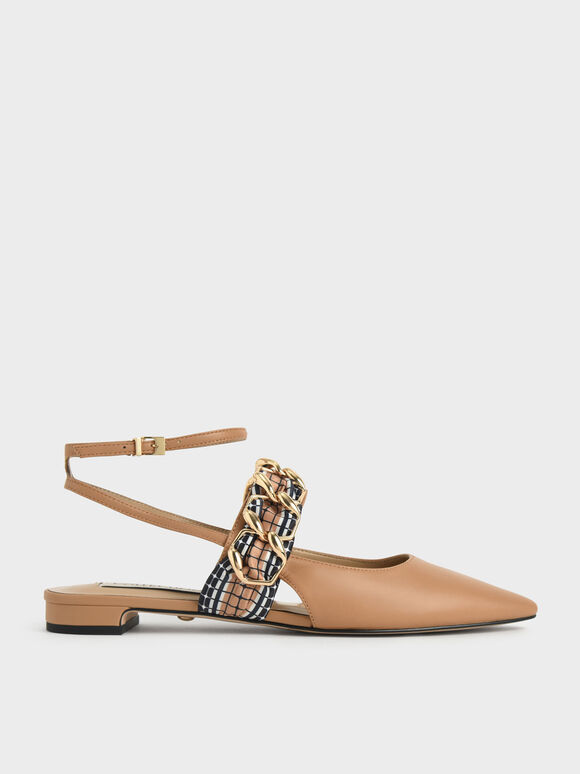 Printed Fabric Scarf Leather Ballet Pumps, Caramel, hi-res
