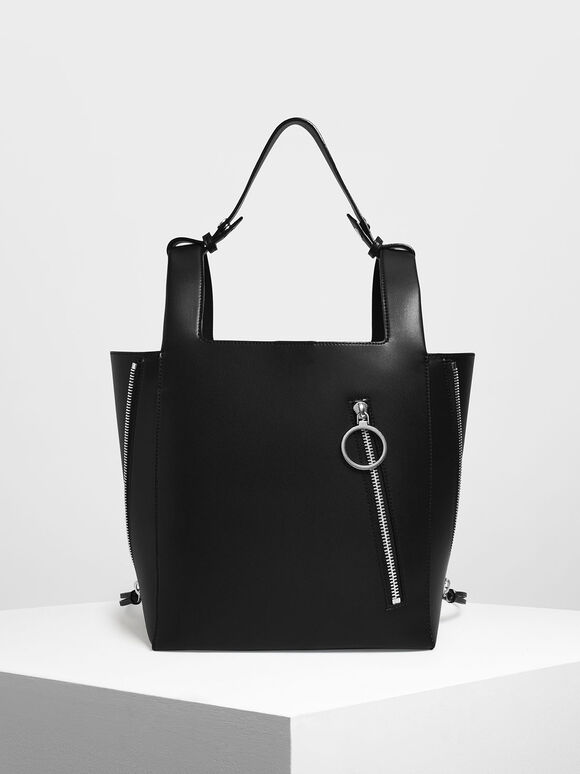 Ring Zip Pocket Square Handle Large Tote, Black, hi-res
