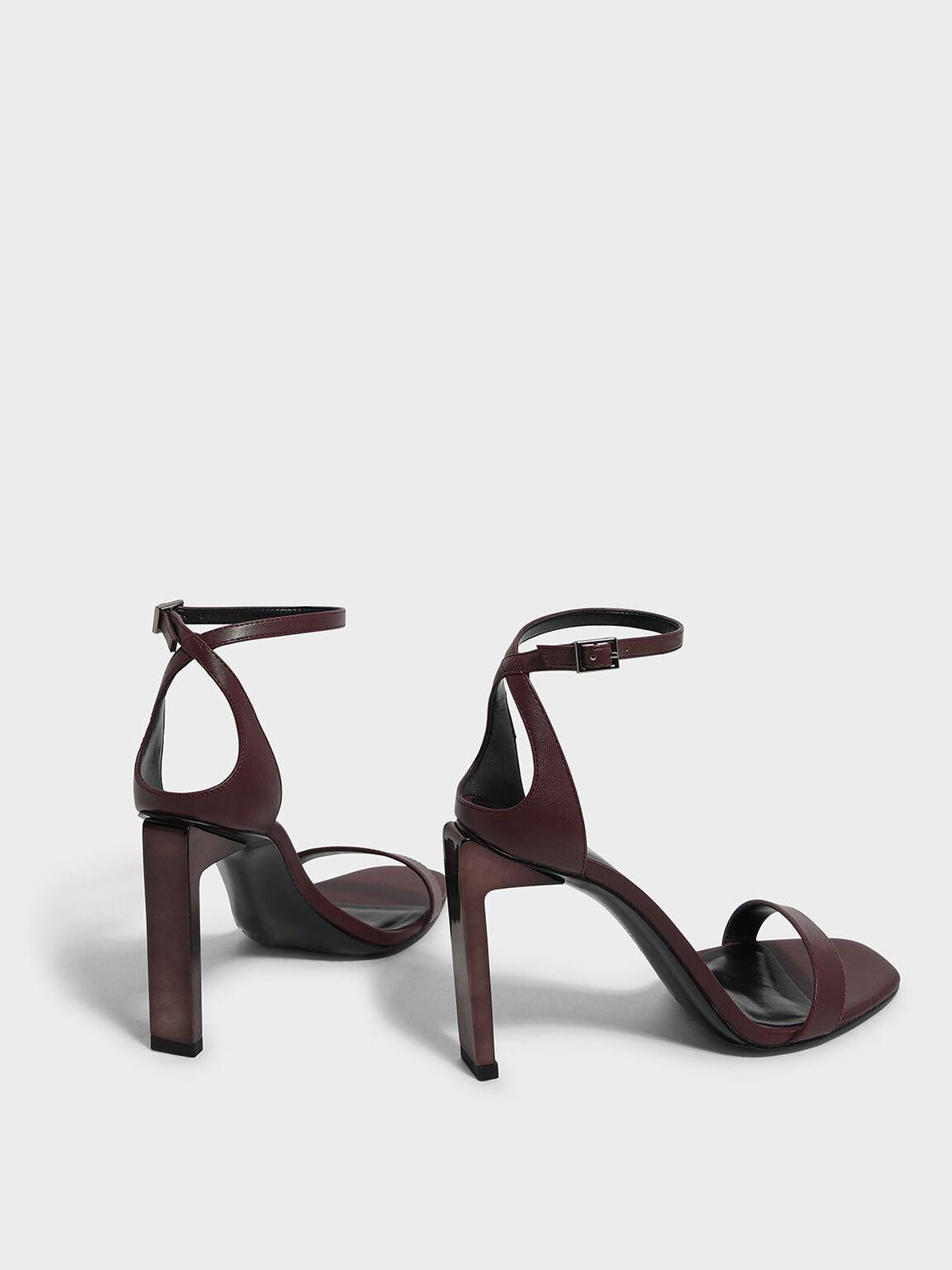 Blade Heel Sandals, Burgundy, hi-res
