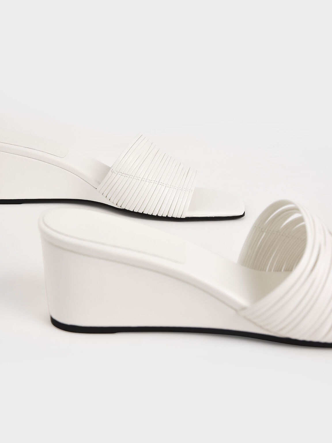 Strappy Wedges, White, hi-res