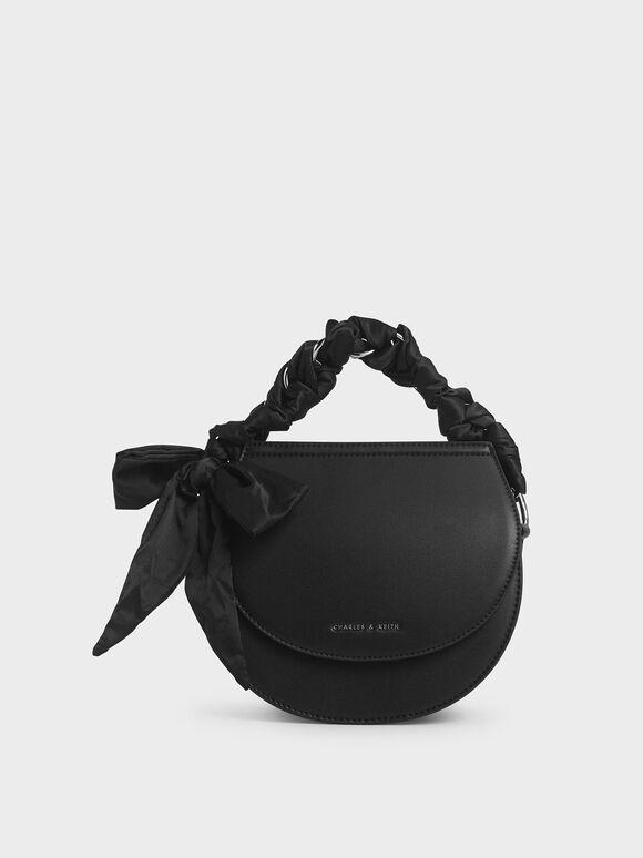 Satin Scarf Semi Circle Bag, Black, hi-res