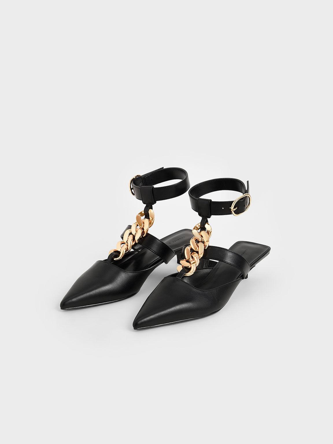 粗練繞踝尖頭鞋, 黑色, hi-res