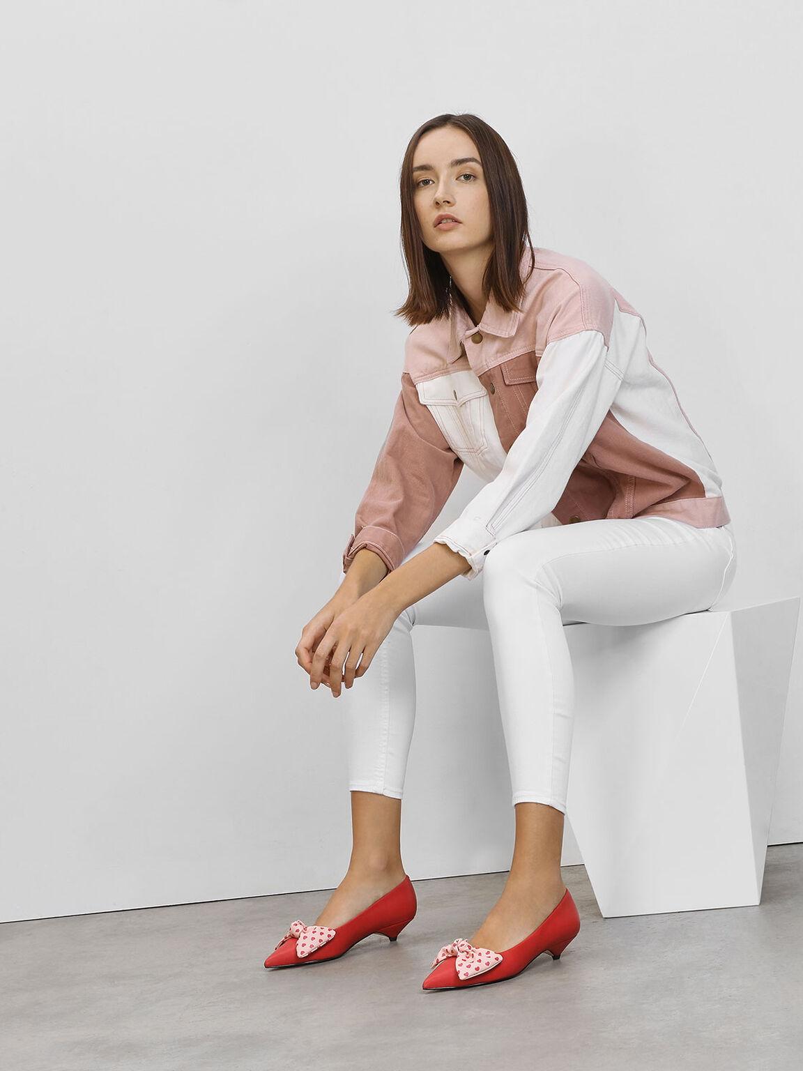 蝴蝶結低跟鞋, 紅色, hi-res