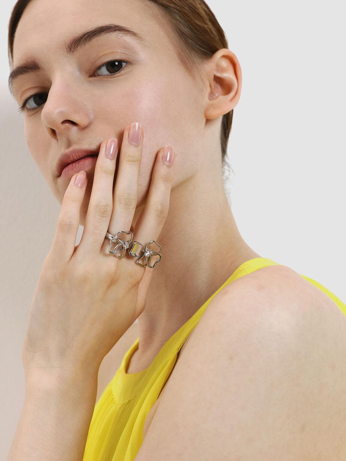 Crystal & Acrylic Petal Double Ring, Silver, hi-res