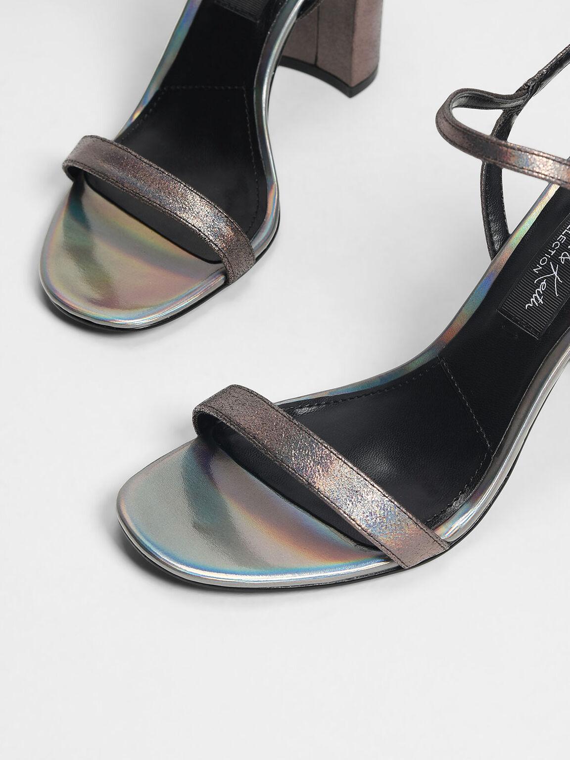Block Heel Leather Sandals, Pewter, hi-res
