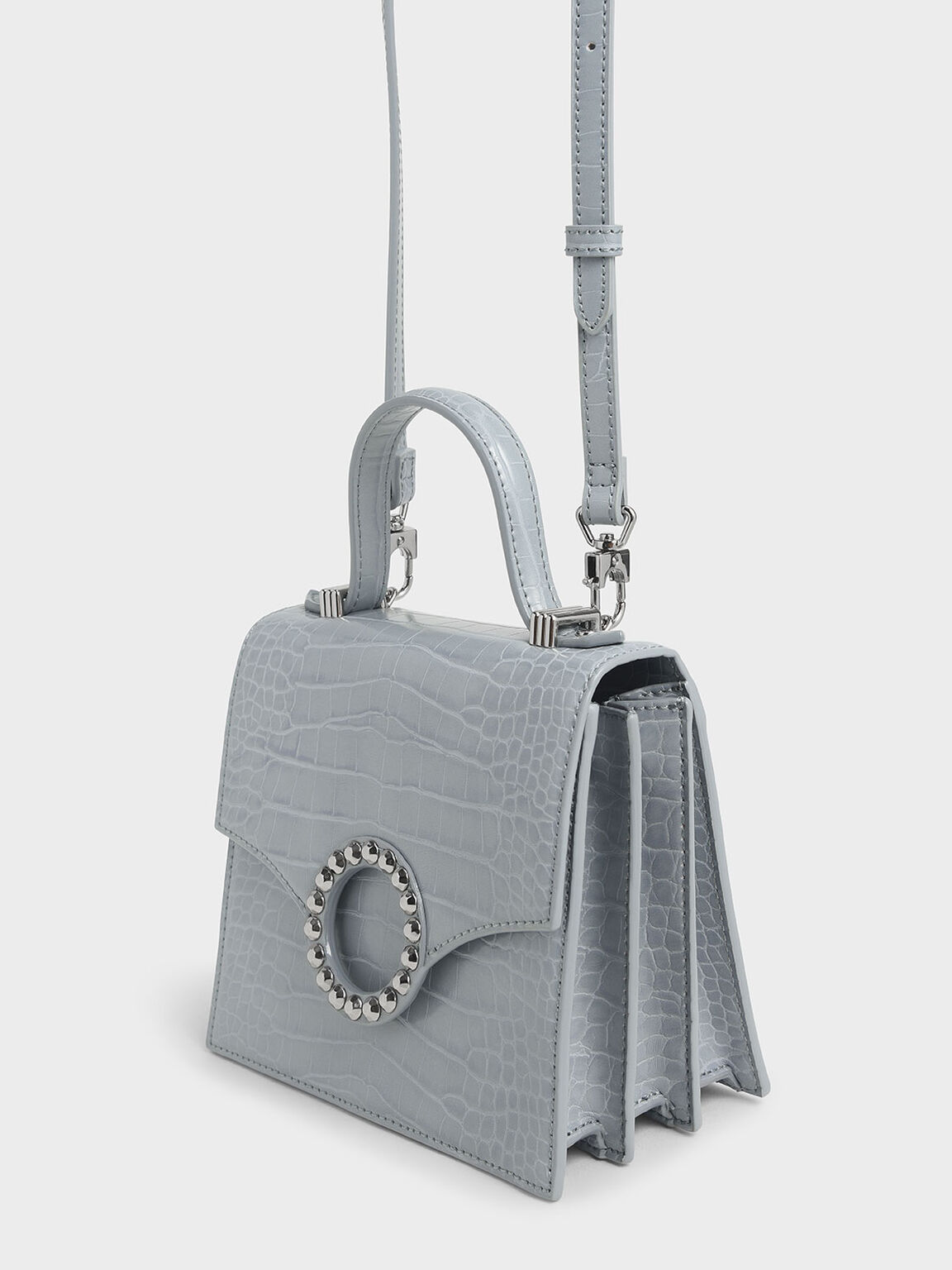 Croc-Effect Embellished-Buckle Bag, Blue, hi-res