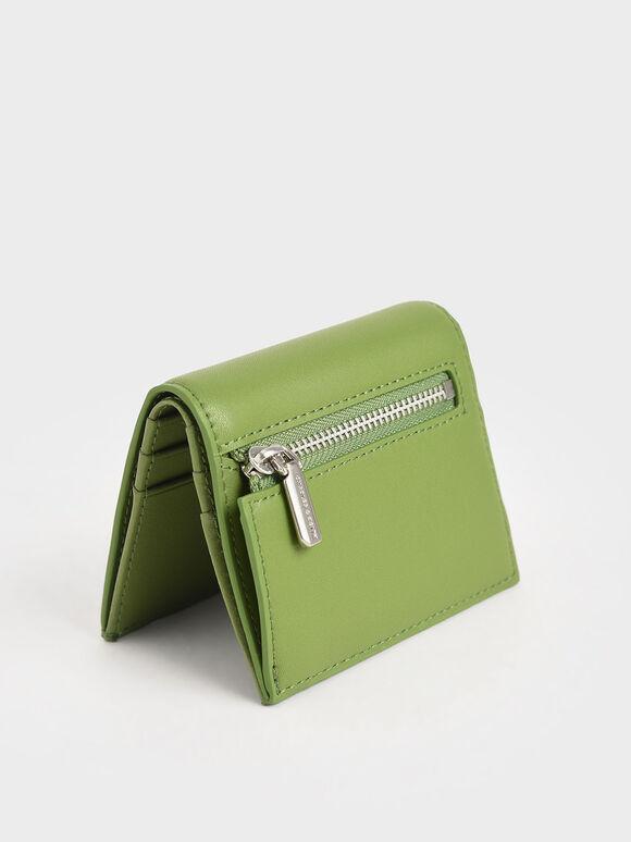 Zip Around Short Wallet, Green, hi-res
