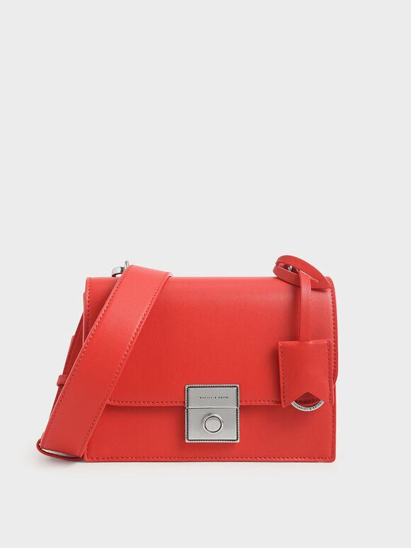 經典吊牌斜背包, 紅色, hi-res