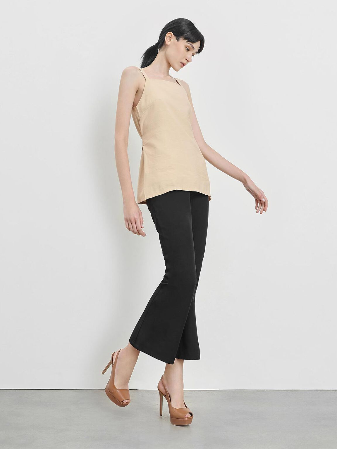 Square Toe Platform Heels, Cognac, hi-res