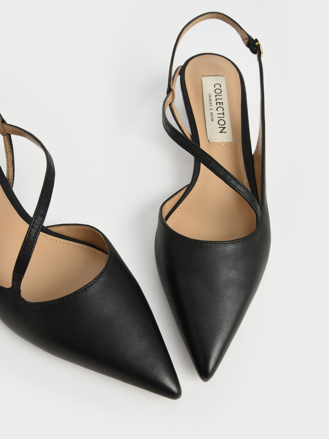 Leather Asymmetric Slingback Pumps, Black, hi-res