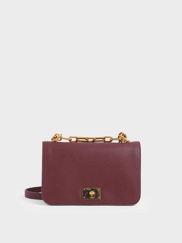 Chain Handle Crossbody Bag, Burgundy, hi-res