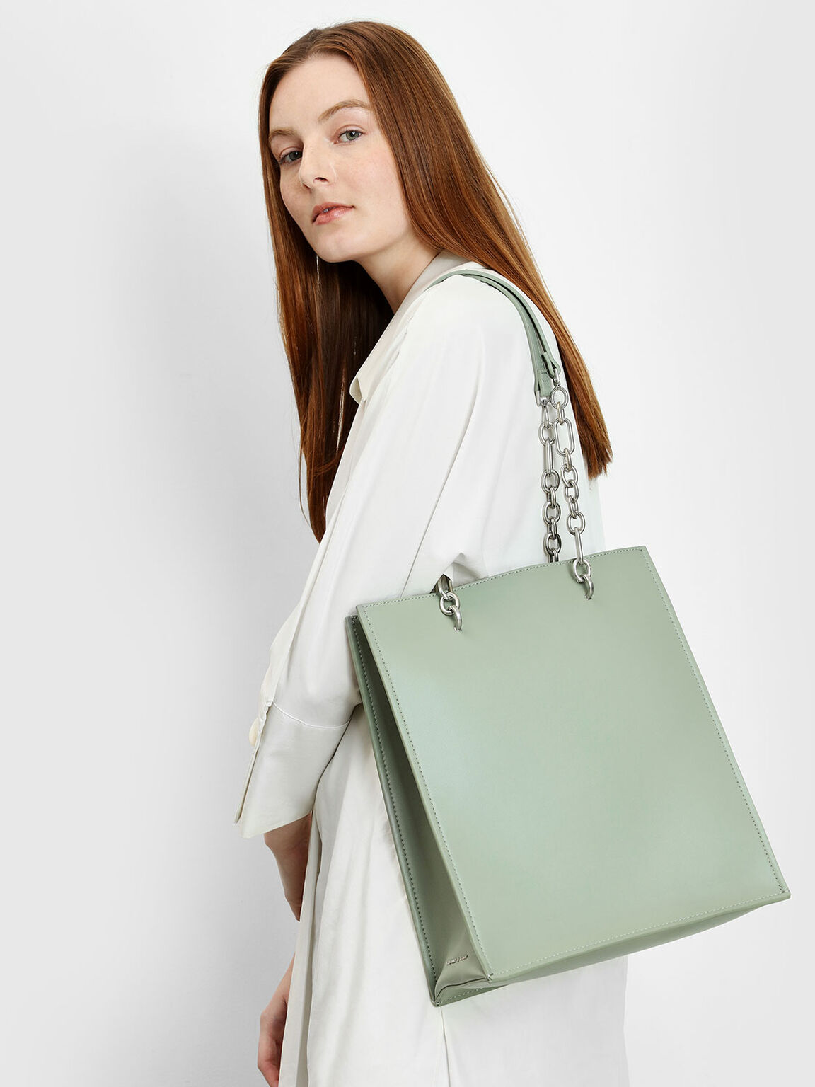 Chain Strap Handle Tote Bag, Sage Green, hi-res