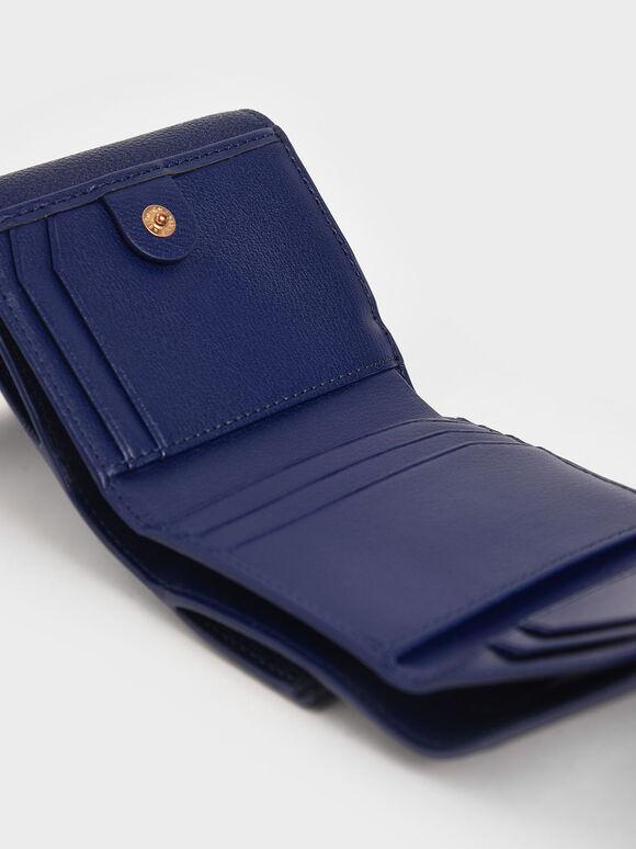 Mini Snap-Button Small Wallet, Dark Blue, hi-res