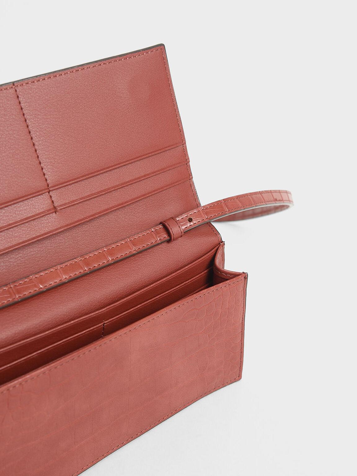 Mini Croc-Effect Front Zip Long Wallet, Clay, hi-res