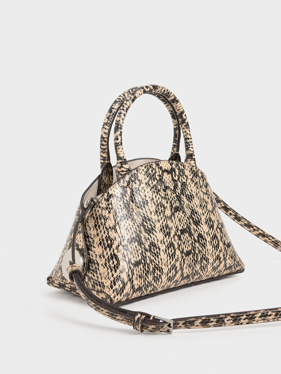 Snake Print Top Handle Dome Bag, Beige, hi-res