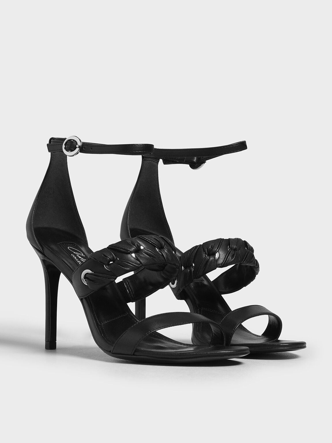 Weave Detail Leather Stiletto Heels, Black, hi-res
