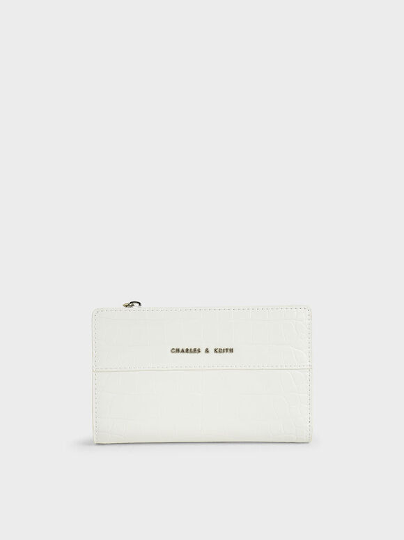 Croc-Effect Snap Button Wallet, White, hi-res