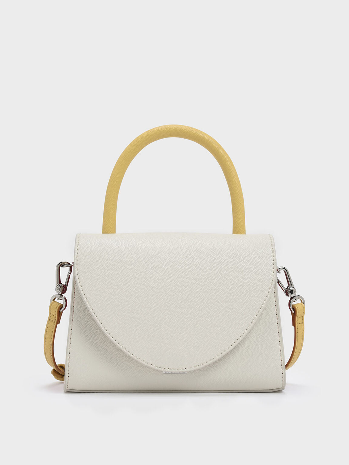 Two-Tone Structured Top Handle Bag, White, hi-res