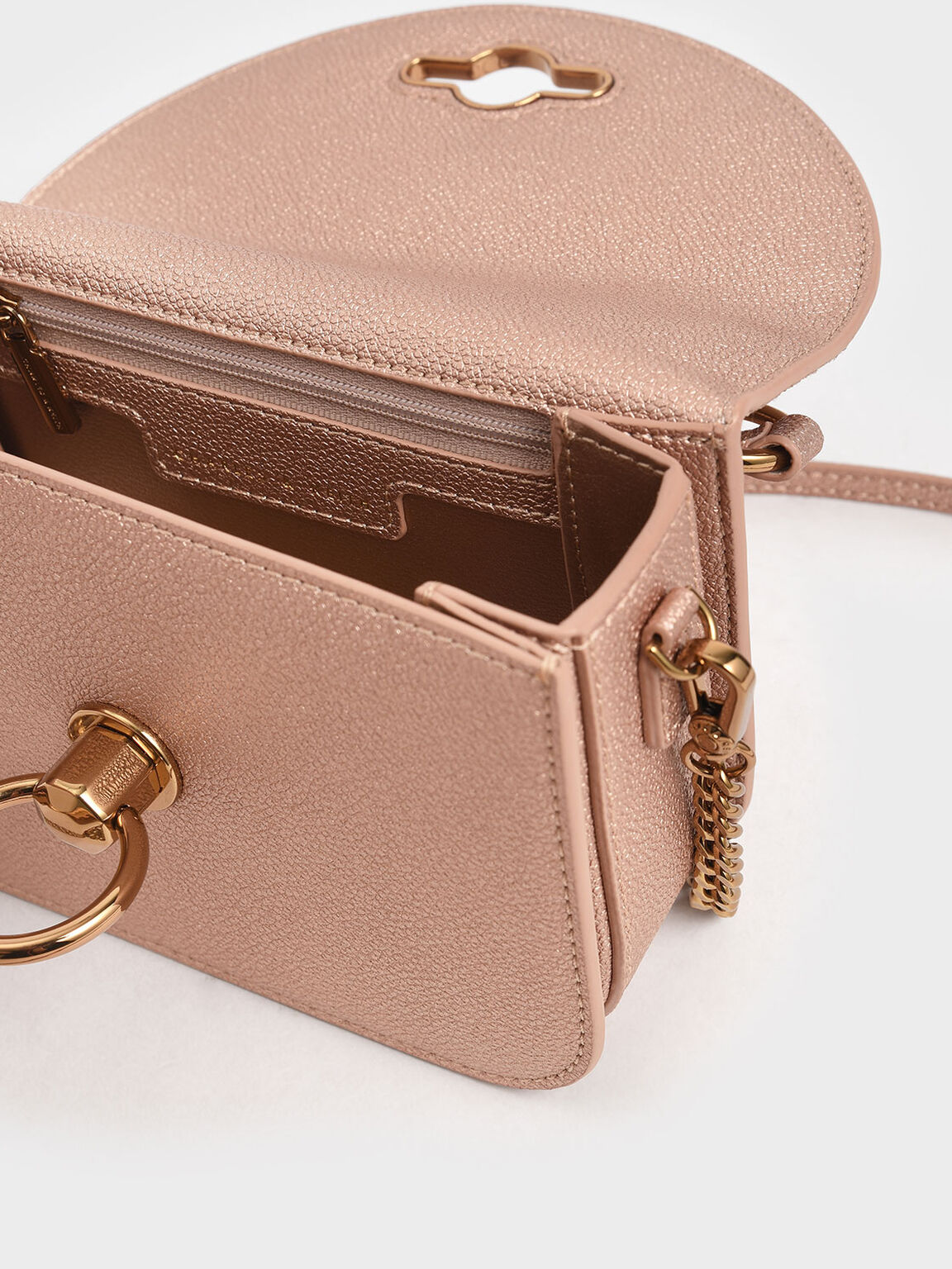 Ring Push Lock Embellished Bag, Rose Gold, hi-res