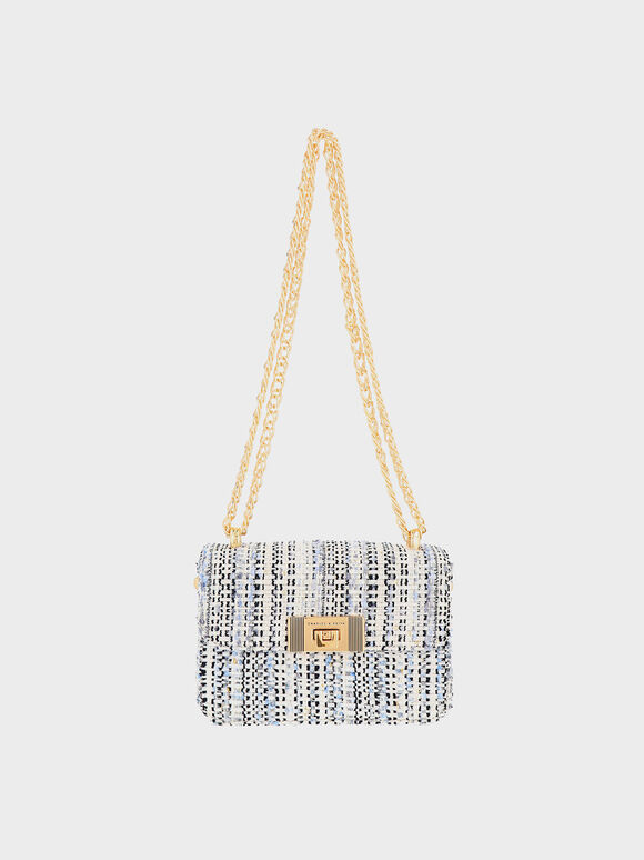 Alia Chain-Strap Tweed Crossbody Bag, Multi, hi-res