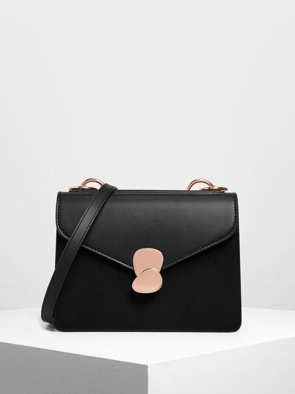 Metal Push Lock Front Flap Bag, Black, hi-res