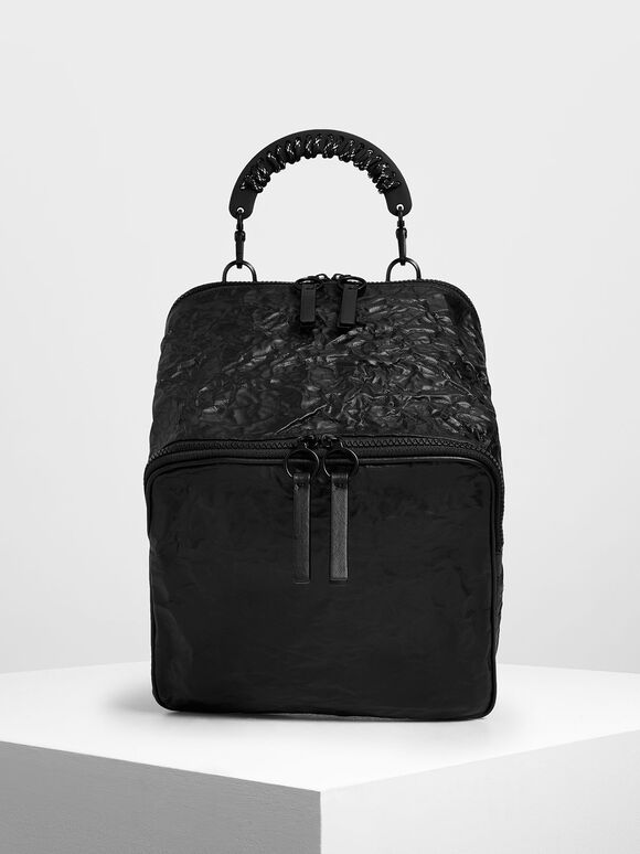 Rope Handle Wrinkled Effect Backpack, Black, hi-res