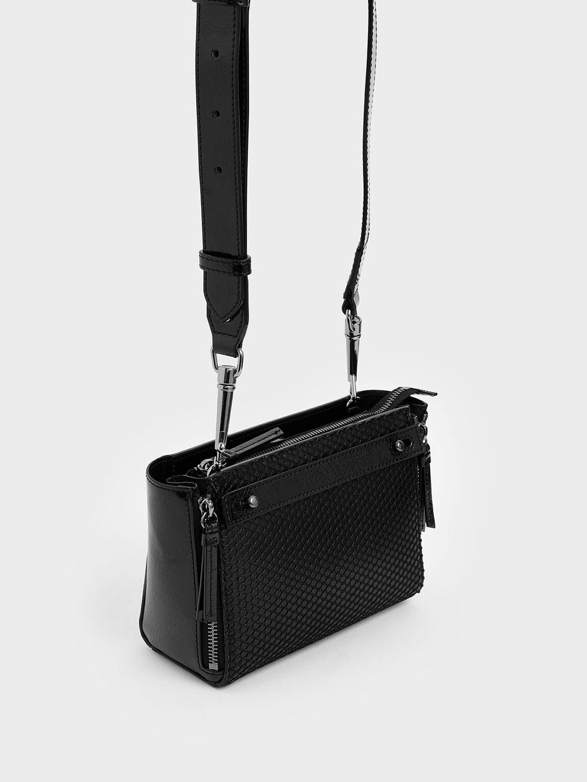Rectangle Mesh Crossbody Bag, Black, hi-res