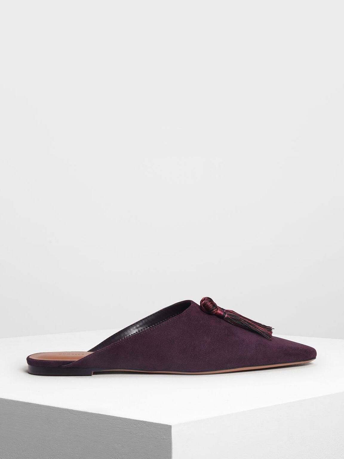 Tassel Detail Slip Ons, Purple, hi-res