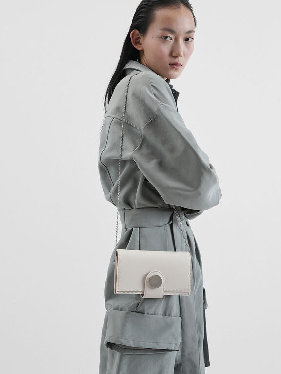 Mini Chrome Button Wallet, Cream